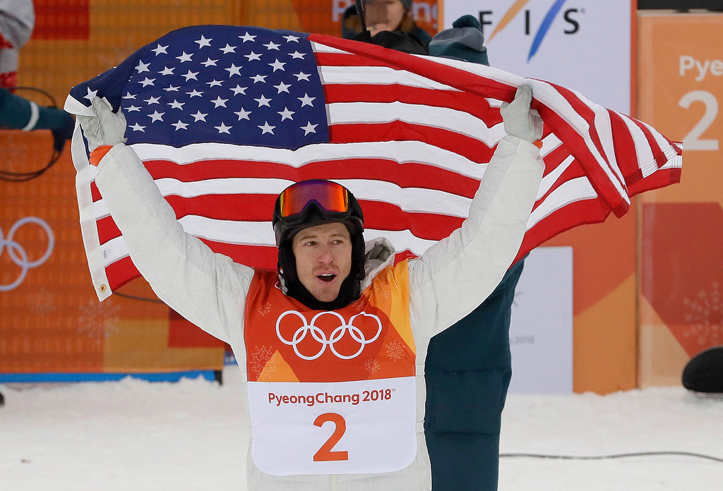 . Shaun White, of the United States, celebrates his gold medal after the men\'s halfpipe finals at Phoenix Snow Park at the 2018 Winter Olympics in Pyeongchang, South Korea, Wednesday, Feb. 14, 2018. (AP Photo/Kin Cheung)