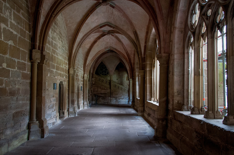 Empty halls of the Maulbronn Monastery in Germany