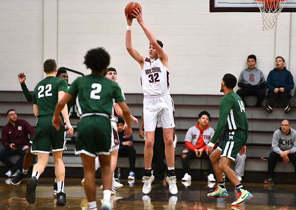 2/11/2020 Mike Orazzi | StaffrBristol Central High School's Donovan Clingan (32) during Tuesday night's game with Maloney in Bristol.