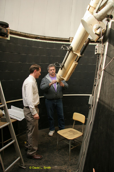 Jayson & I examine the tail stock of the instrument.