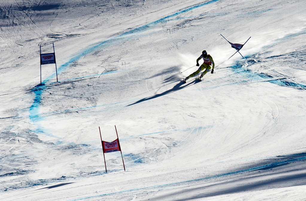 . Aksel Lund Svindal of Norway carves past a gate to take second in the FIS Alpine World Cup men\'s Super G on December 1, 2012 in Beaver Creek, Colorado.     DON EMMERT/AFP/Getty Images
