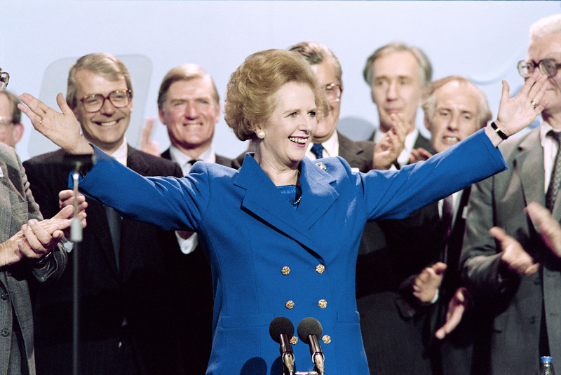 """. A picture dated Ocotber 13, 1989 shows then British Prime Minister Margaret Thatcher acknowledging applaud on at the end of the Conservative Party conference in Blackpool. Former British prime minister Margaret Thatcher, the \""""Iron Lady\"""" who shaped a generation of British politics, died following a stroke on April 8, 2013 at the age of 87, her spokesman said.   JOHNNY EGGITT/AFP/Getty Images"""