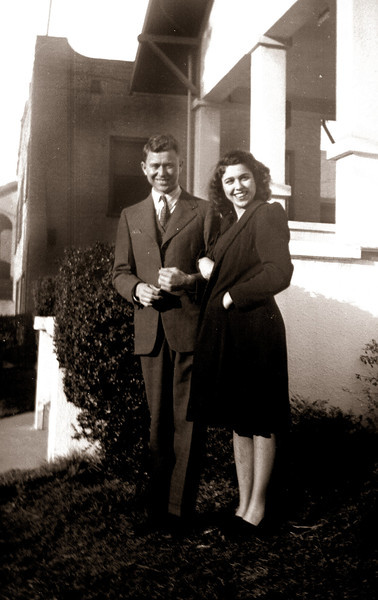 Bob Hamlin and Donna Hopkins, probably in about 1941 in Martinez, California.