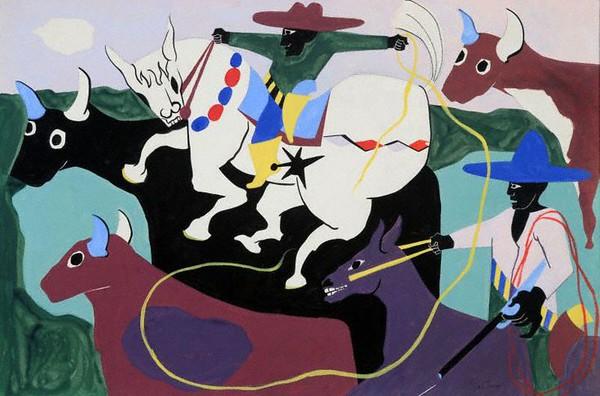 "Jacob Lawrence, ""Black Cowboys,"" c. 1967"
