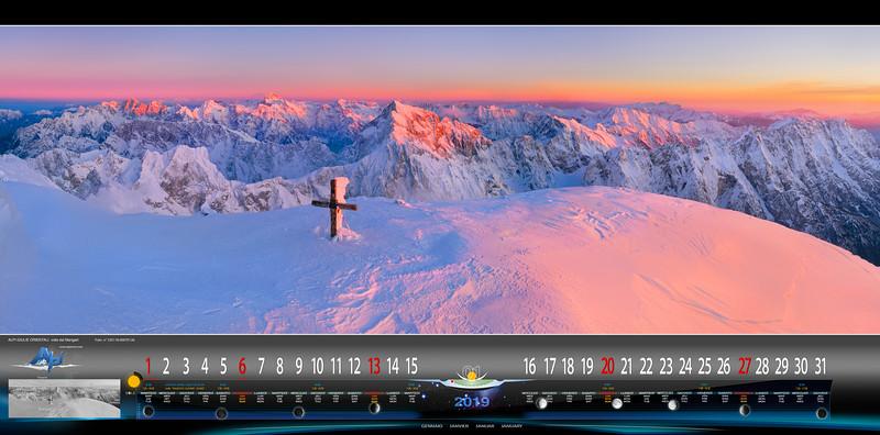 Gennaio - Vetta del Mangart al tramonto