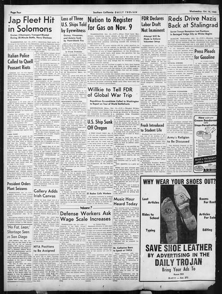 Daily Trojan, Vol. 34, No. 19, October 14, 1942