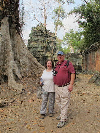 Renee and Ellis Mirsky at Ta Prohm, Siem Reap province, Cambodia.