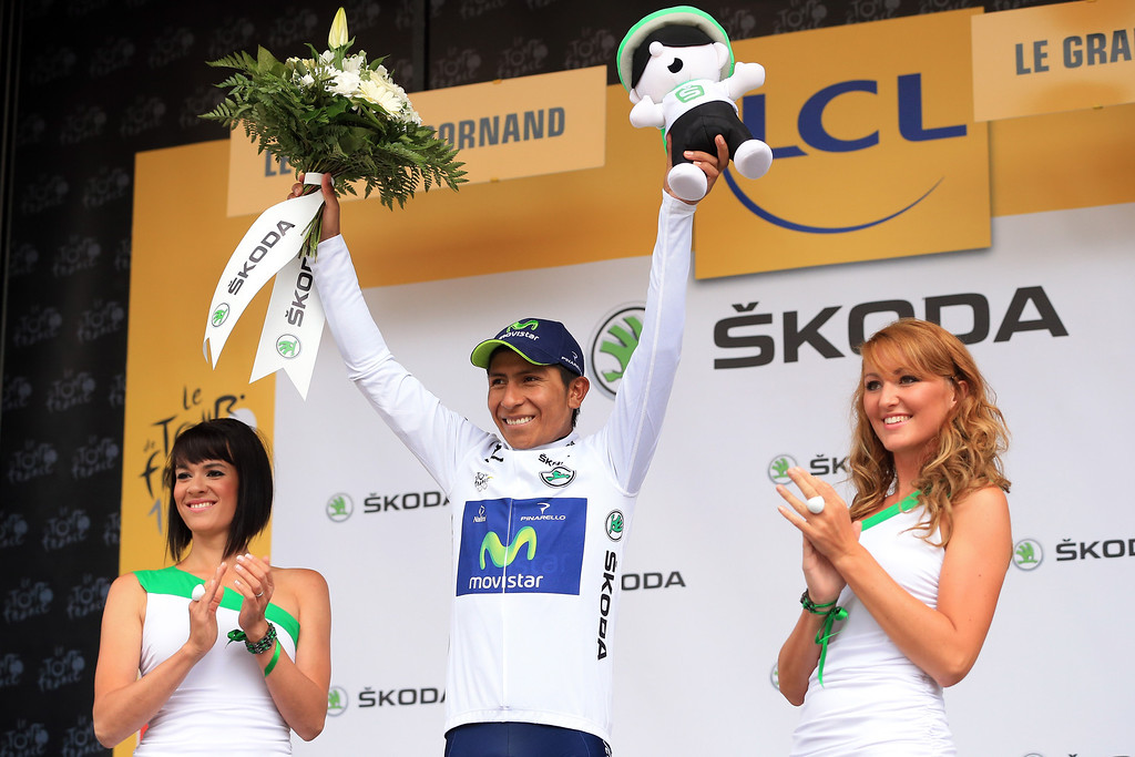 . Nairo Quintana of Colombia and Movistar Team keeps the best youger\'s white jersey after stage nineteen of the 2013 Tour de France, a 204.5KM road stage from Bourg d\'Oisans to Le Grand Bornand, on July 19, 2013 in Le Grand Bornand, France.  (Photo by Doug Pensinger/Getty Images)