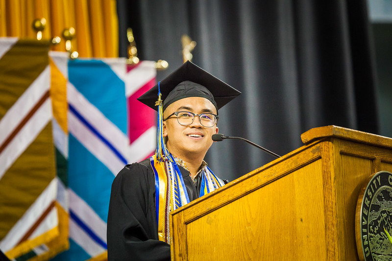 Commencement 2017 class speaker Daniel Nero acknowledges and recognizes his mother and all the mothers present at the Carlson Center during his speech.
