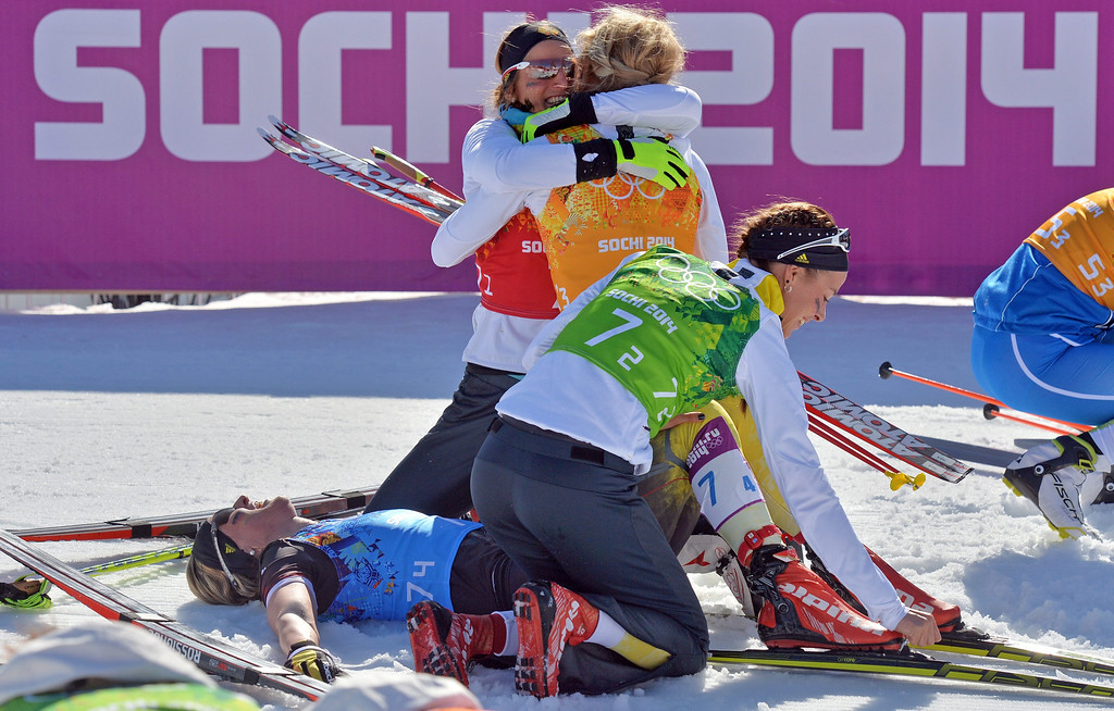 . Germany\'s team (L-R) Denise Herrmann, Nicole Fessel, Claudia Nystad and Stefanie Boehler celebrate his third place after the Women\'s  4x5 km Relay competition at the Sochi 2014 Olympic Games, Krasnaya Polyana, Russia, 15 February 2014.  EPA/HENDRIK SCHMIDT