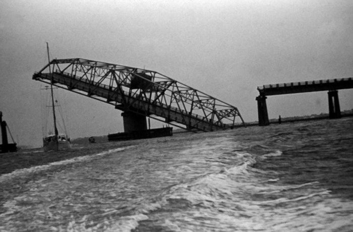 . Ben Sawyer Bridge to Sullivans Island after passage of Hurricane Hugo, September 1989. National Hurricane Center. NOAA\'s National Weather Service (NWS) Collection