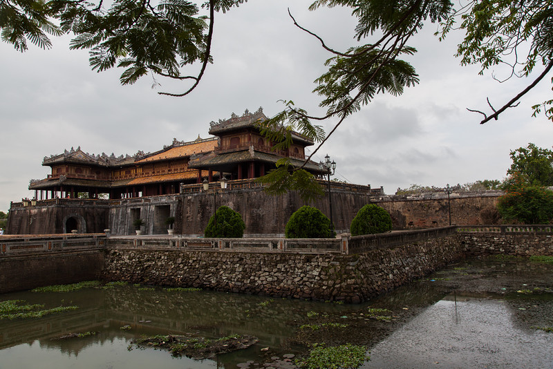 The Ngo Mon Gate at the Citadel, surrounded by one of the moats.