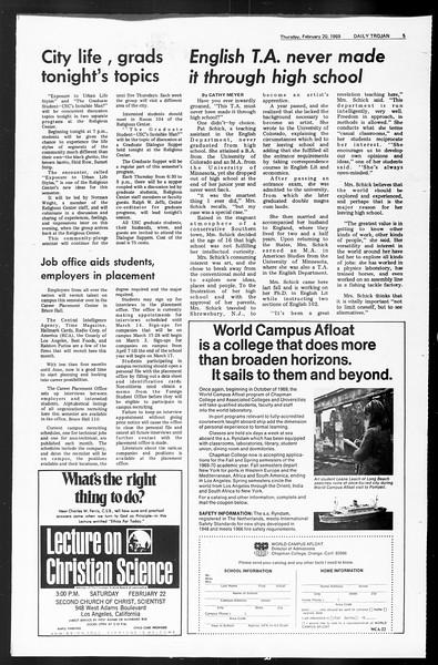 Daily Trojan, Vol. 60, No. 74, February 20, 1969