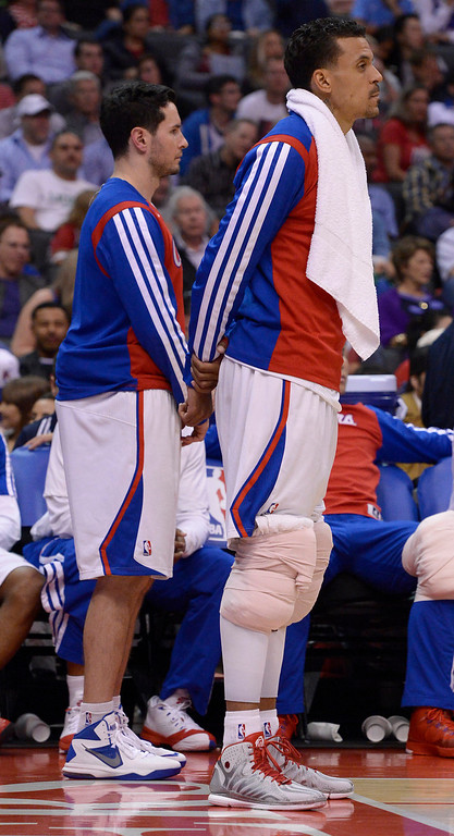 . Clippers#22 Matt Barnes has ice on both knees in the second half. The Los Angeles Clippers defeated Denver Nuggets 117 to 105 in a regular season NBA game. Los Angeles, CA. 4/15/2014(Photo by John McCoy / Los Angeles Daily News)