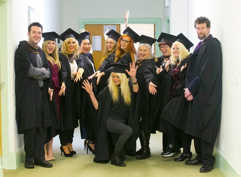 Waterford Institute Of Technology Conferring. Pictured at WIT Waterford Institute Of Technology Conferring are in front, Rose Marie Wall, Waterford, Standing from left, Cian Dalton, Dunmore East, Waterford, Lisa Byrne, Kilmuckridge, Co Wexford, Ashling Durnin, Dunboyne, Co Meath, Micheala Troy, Wexford, Sarah Dillon, Wexford, Christina Walsh, Waterford, Kay Higgins, Kilkenny, Linda Egan, Waterford, Sorcha Reilly, Kilkenny and Sean Gallagher, Kilkennywho graduated Bachelor of Arts (Honours) in Visual Art. Picture: Patrick Browne