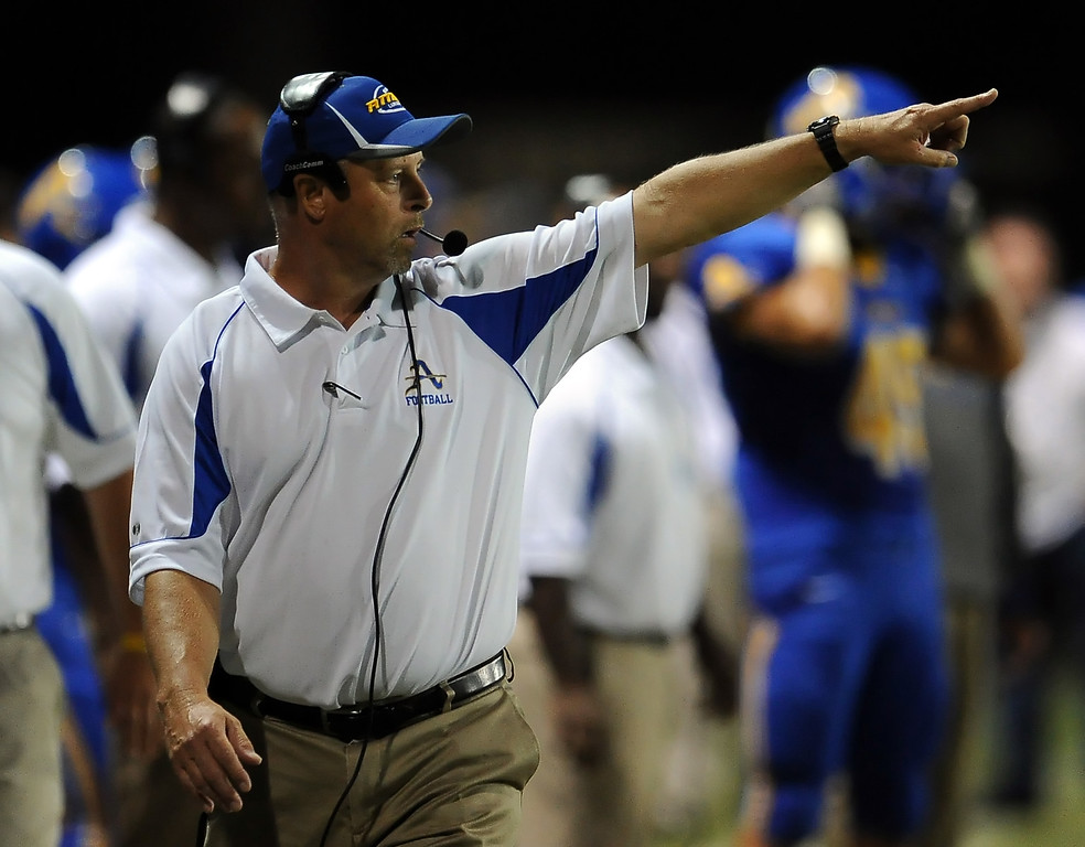 . Bishop Amat\'s head coach Steve Hagerty in the first half of a prep football game against Charter Oak at Bishop Amat High School in La Puente, Calif. on Friday, Sept. 20, 2013.    (Photo by Keith Birmingham/Pasadena Star-News)