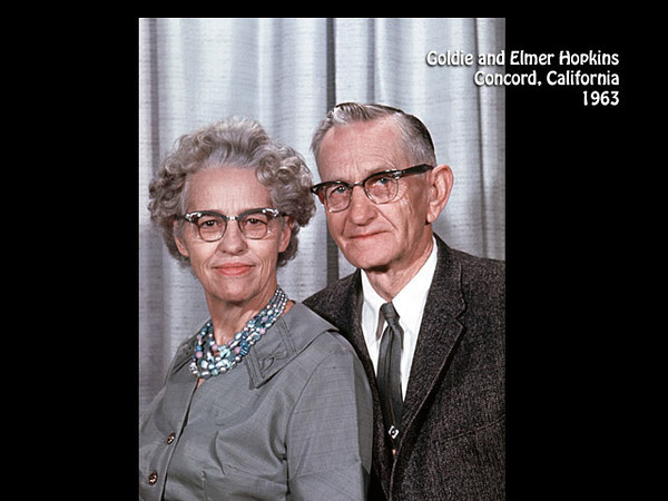 Elmer Henry Hopkins and Goldie Lazetta Gray Hopkins, Concord, California in 1963.