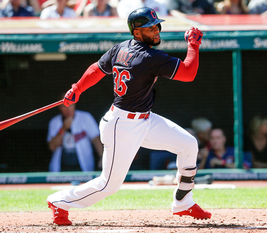 . Cleveland Indians\' Yandy Diaz hits a double off Detroit Tigers starting pitcher Francisco Liriano during the fourth inning of a baseball game, Sunday, Sept. 16, 2018, in Cleveland. The Tigers defeated the Indians 6-4. (AP Photo/Ron Schwane)