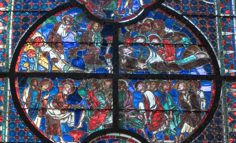 Laon Cathedral of Notre-Dame Choir Window, The Washing of Feet, Praying in the Garden