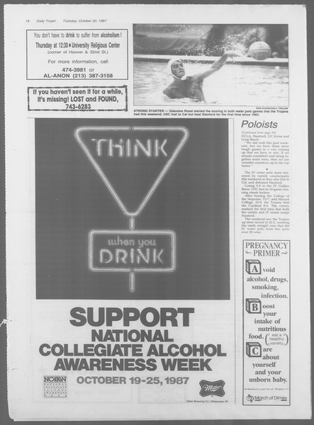 Daily Trojan, Vol. 105, No. 33, October 20, 1987