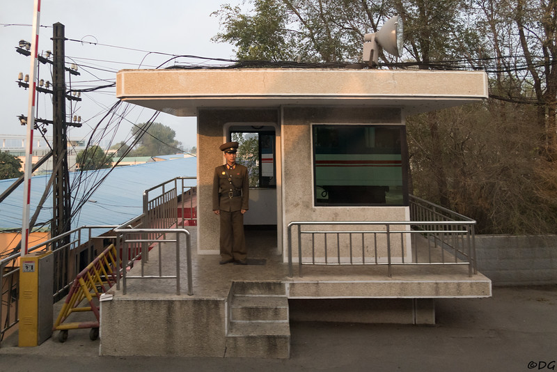 North Korea, Sinuiju. Last checkpoint before the Sino-Korean Friendship Bridge between North Korea and China.