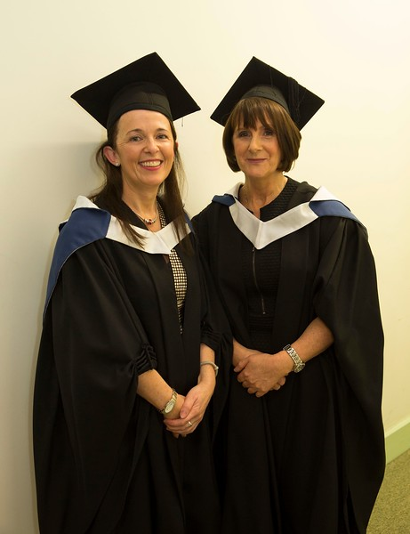 28/10/2015 Image Free to Use. Conferring at Waterford Institute of Technology. l-r; Prisilla Morrissey from Slieverue and Bridget Conway from New Ross Batchelor of Arts in Adult Education.Photo; Mary Browne