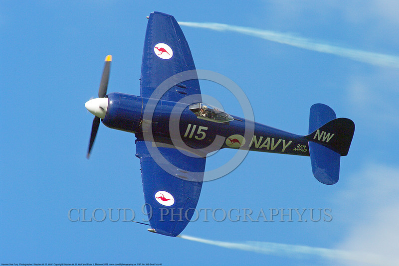 WB-Sea Fury 00046 A flying blue Hawker Sea Fury fighter Austrailian Navy warbird picture by Stephen W. D. Wolf.JPG