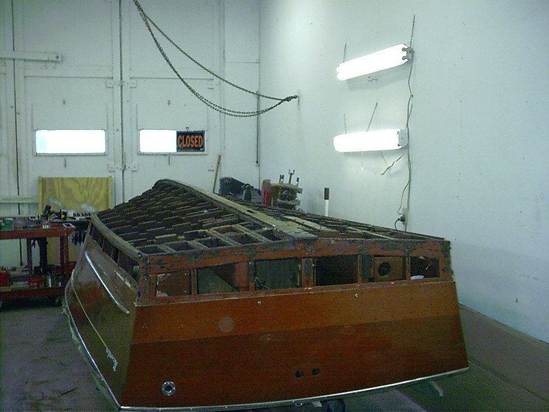 Rear starboard view of bottom removed and bootom plank removed.