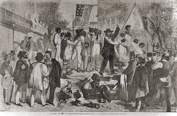 . A slave auction at the south from an original sketch by Theodore R. Davis. 1861.  Library of Congress