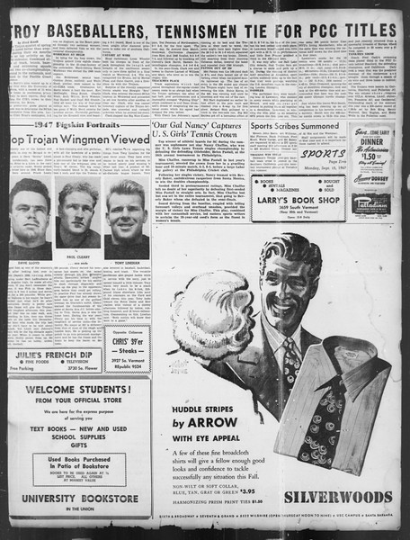 Daily Trojan, Vol. 39, No. 1, September 15, 1947