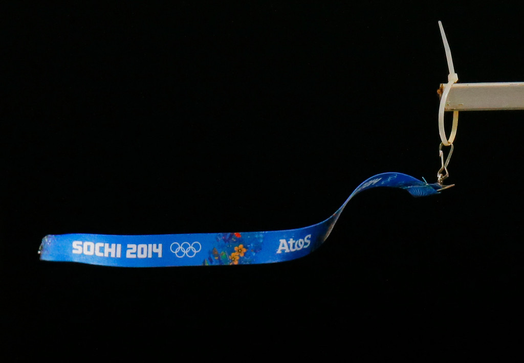 . A wind vane flutters in the wind during the ski jumping large hill final at the 2014 Winter Olympics, Saturday, Feb. 15, 2014, in Krasnaya Polyana, Russia. (AP Photo/Dmitry Lovetsky)