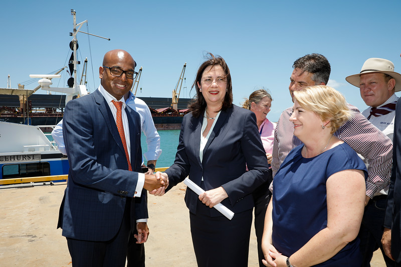 06 December 2016 - Townsville, Qld - Adani Carmichael coal mine announcement in Townsville.  Adani Australia CEO Jeyakumar Janakaraj and Queensland premier Annastacia Palaszczuk on the Port of Townsville - Photo: Cameron Laird (Ph: 0418 238811 - cameron@cameronlaird.com)