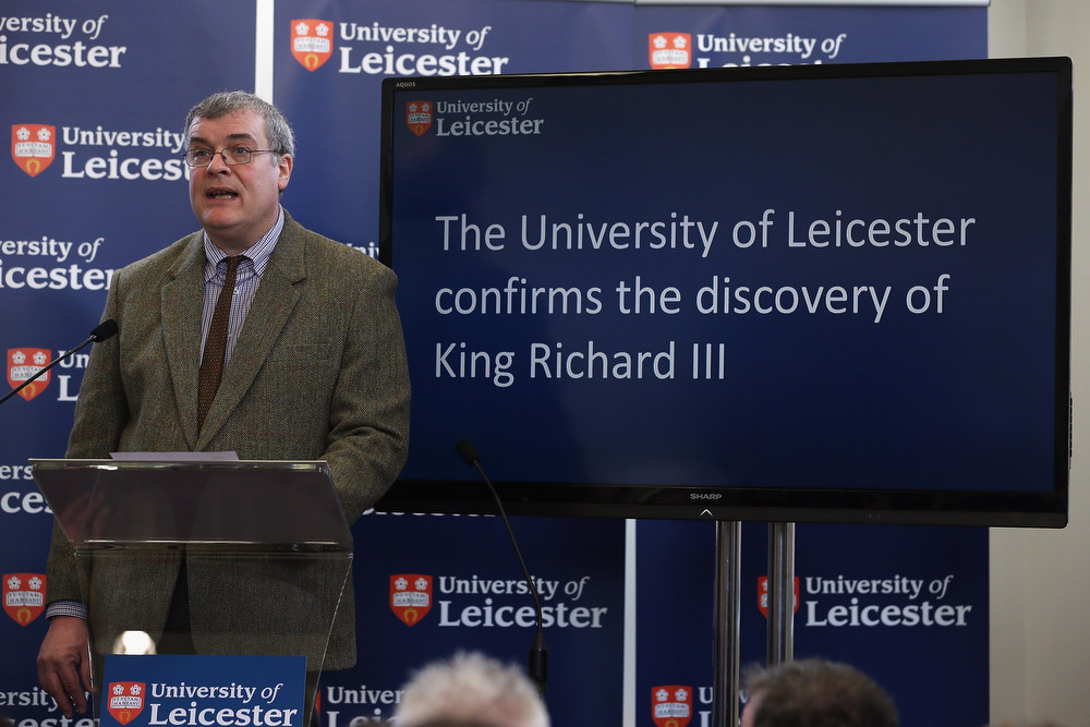 Description of . Lead archaeologist Richard Buckley speaks during a press conference at University Of Leicester as archaeologists announce whether the human remains found in Leicester are those of King Richard III on February 4, 2013 in Leicester, England. The University of Leicester has been carrying out scientific investigations on remains found in a car park to find out whether they are those of King Richard III since last September, when the skeleton was discovered in the foundations of Greyfriars Church, Leicester.  (Photo by Dan Kitwood/Getty Images)