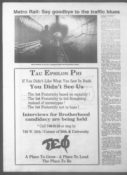 Daily Trojan, Vol. 107, No. 16, September 28, 1988