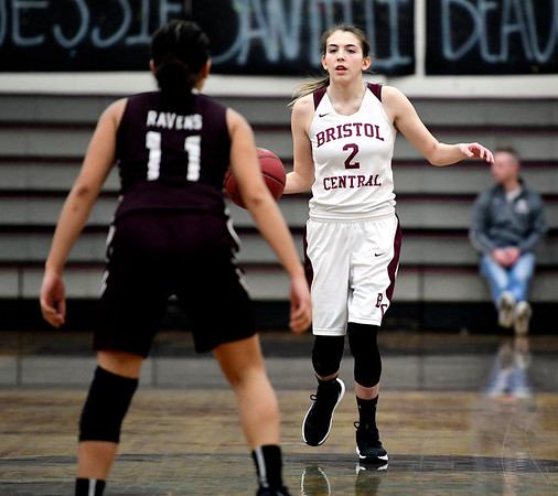 2/8/2019 Mike Orazzi | Staff Bristol Central's Allison Jessie (2) during Friday night's girls basketball game with Innovation.