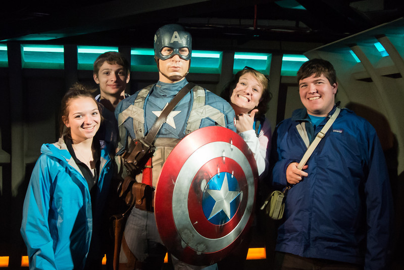 Captain America with his devout followers.