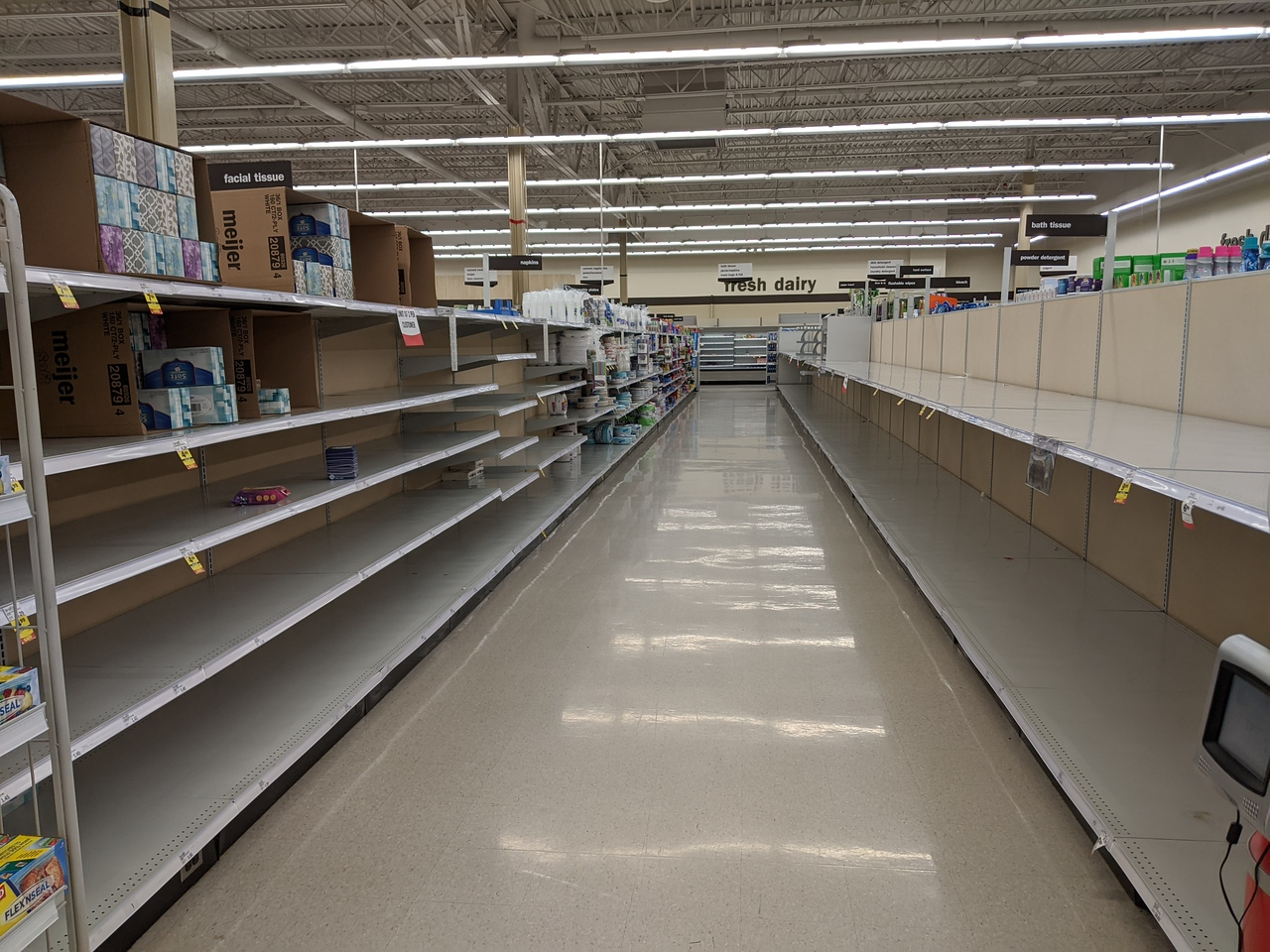 Toilet paper aisle at Meijer store in Beavercreek, Ohio, on March 20, 2020