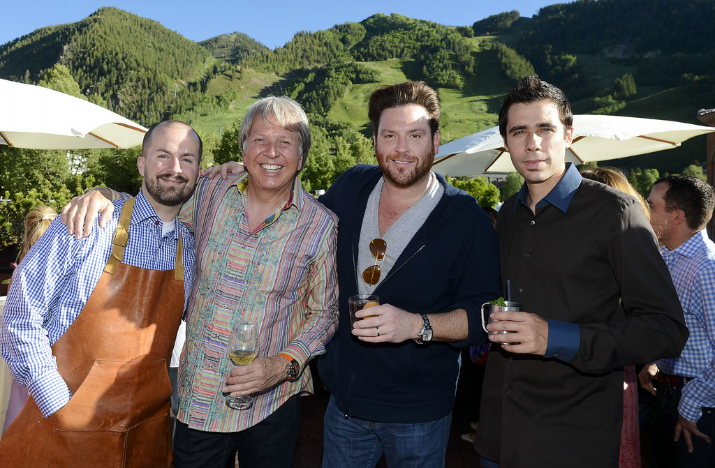 . ASPEN, CO - JUNE 20: Mixologist Jim Meehan, chef Dean Fearing, chef Scott Conant, and chef Cedric Vongerichten celebrate The Centurion Lounge by American Express during Food & Wine Classic in Aspen on June 20, 2014 in Aspen, Colorado. (Photo by Riccardo Savi/Getty Images for American Express)