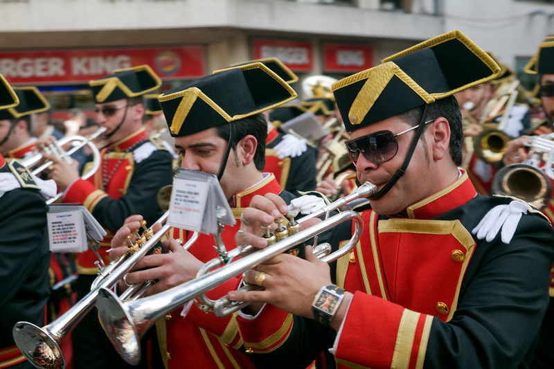 Brass band musicians, Palm Sunday, Seville, Spain