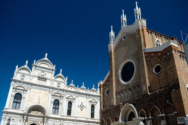 San Zanipolo (Santi Giovanni e Paolo) hospital (left) and basilica (right), Castello quarter, Venice, Italy