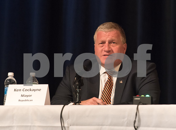 10/23/17 Wesley Bunnell | Staff The Bristol Chamber of Commerce held a Candidates' Forum on Monday evening at St. Paul Catholic High School. Bristol Mayor Kenneth B. Cockayne.