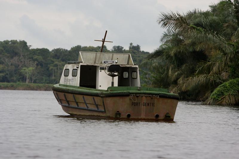 Boat moored in the Fernan-Vaz lagoon.