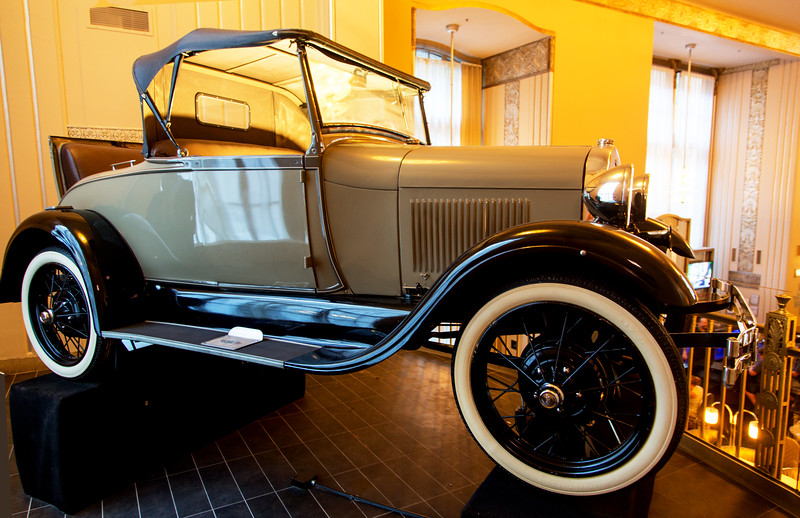 A 1928 Model A Ford Roadster convertible with rumble seat, on the Hampton Inn lobby balcony