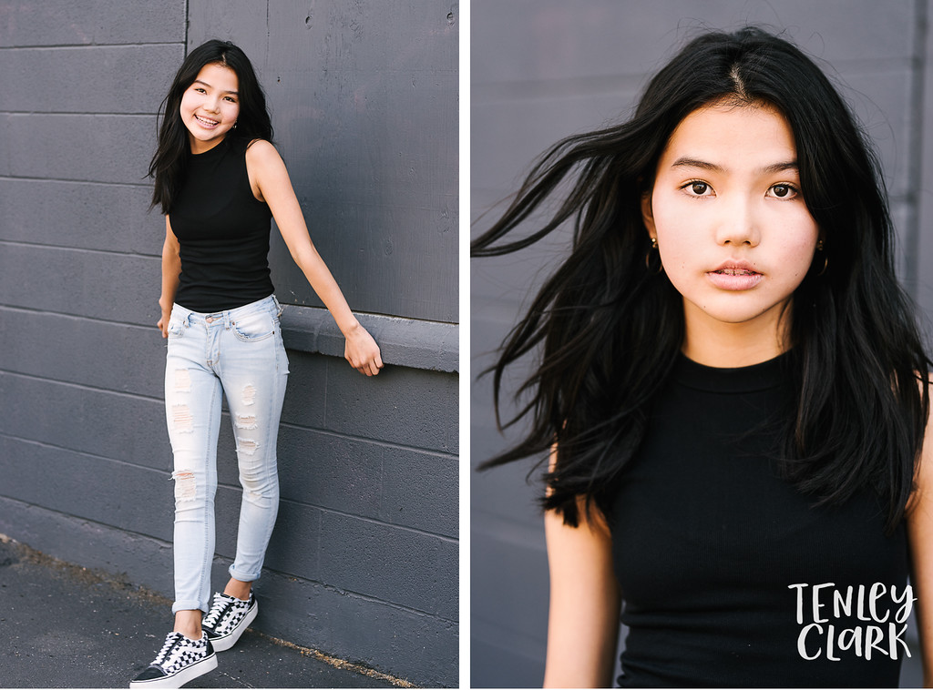 Bay Area playful and colorful editorial teen model headshot portfolio session in San Jose by Tenley Clark Photography