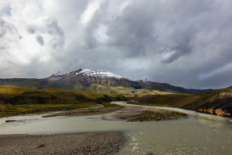 Striated Mountain in Patagonia with a little fresh snow.