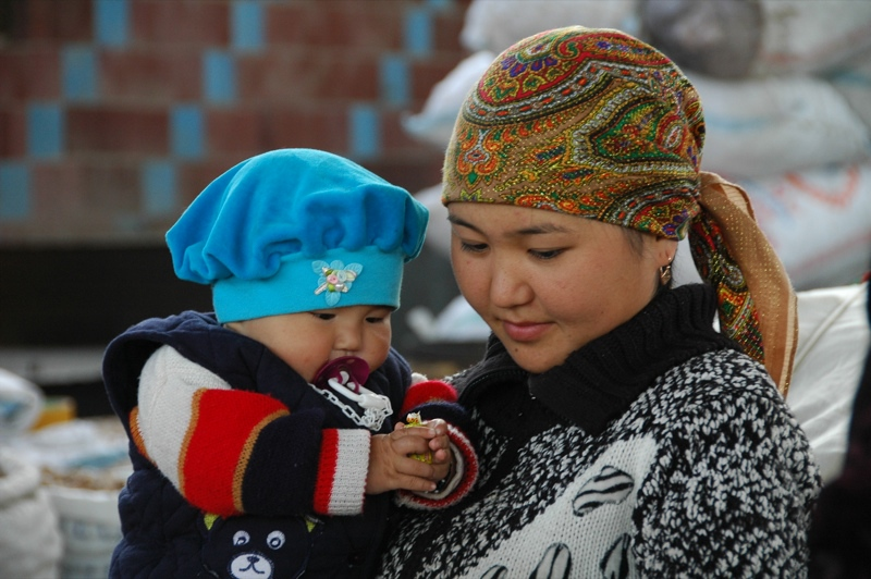 Kyrgyz Mother and Son at Osh Market, Kyrgyzstan