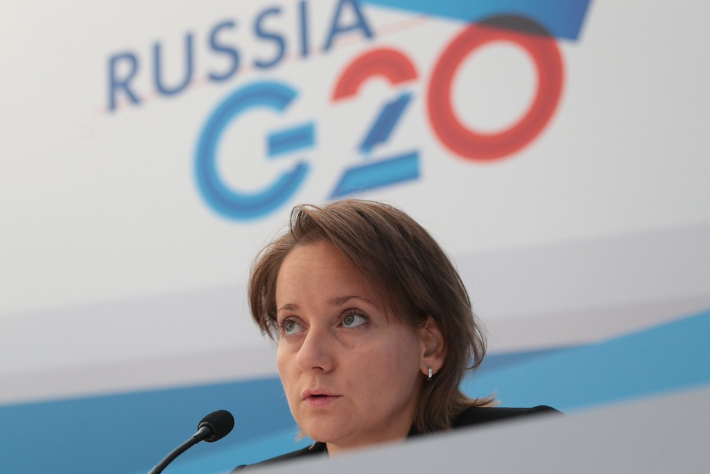 . In this handout image provided by Host Photo Agency, Anna Valkova, Deputy Director of the Department of International Financial Relations at the Russian Ministry of Finance attends a briefing at the G20 Growth Agenda meeting on September 5, 2013 in St. Petersburg, Russia.  (Photo by Mikhail Kireev/Host Photo Agency via Getty Images)