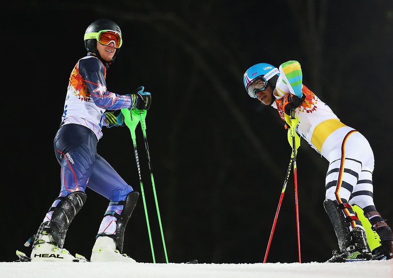 . Felix Neureuther of Germany (r) and Ted Ligety of the United States react after both crashing out in the second run during the Men\'s Slalom during day 15 of the Sochi 2014 Winter Olympics at Rosa Khutor Alpine Center on February 22, 2014 in Sochi, Russia.  (Photo by Doug Pensinger/Getty Images)