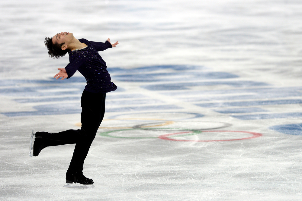 . Japan\'s Daisuke Takahashi performs during the men\'s figure skating free skate. Sochi 2014 Winter Olympics on Friday, February 14, 2014. (Photo by AAron Ontiveroz/The Denver Post)