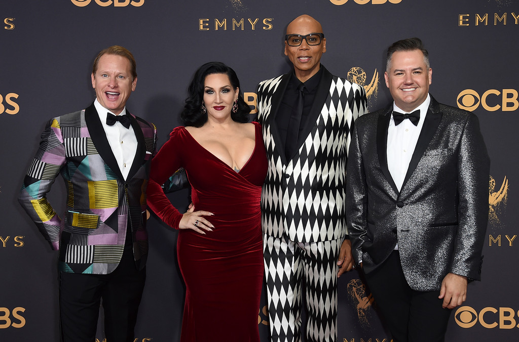 . Carson Kressley, from left, Michelle Visage, RuPaul and Ross Mathews arrive at the 69th Primetime Emmy Awards on Sunday, Sept. 17, 2017, at the Microsoft Theater in Los Angeles. (Photo by Jordan Strauss/Invision/AP)
